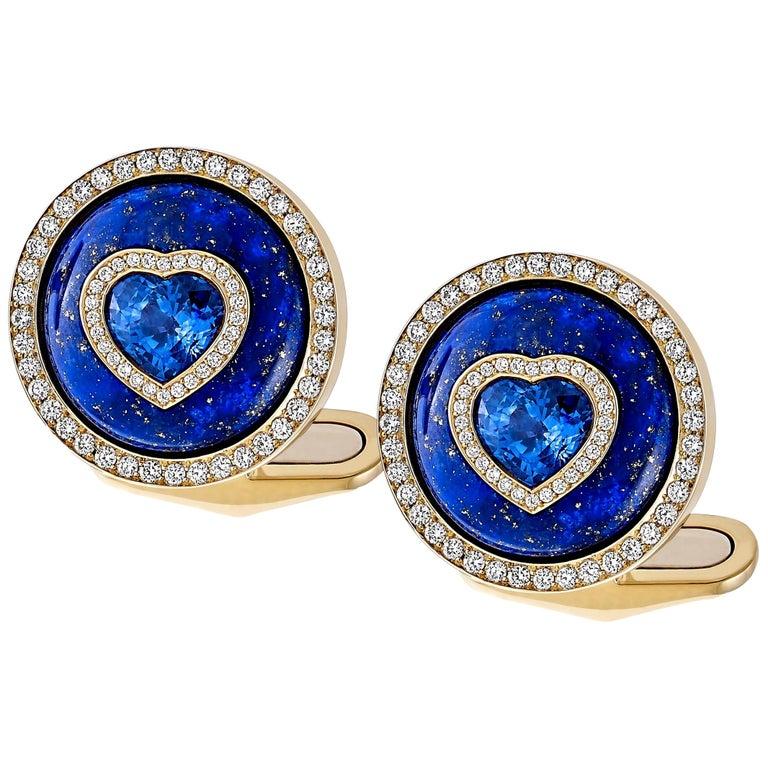 Blue Sapphire, Lapis and Diamond Cufflinks in 18 Karat Yellow Gold For Sale