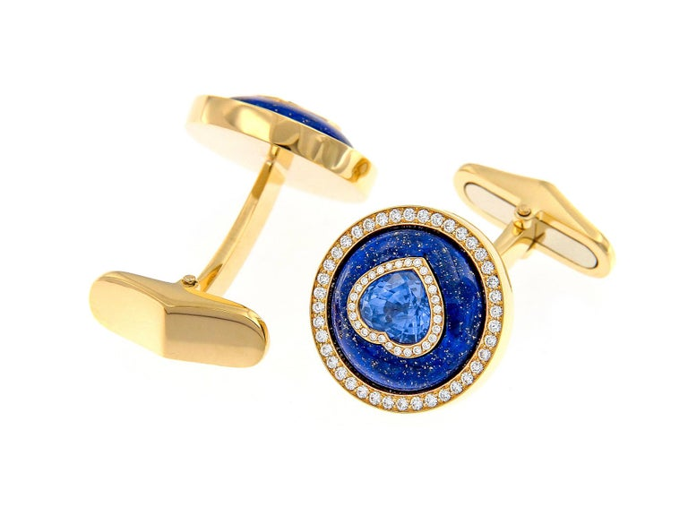 Inspired by ancient Persia, these 18k yellow gold, lapis lazuli and diamond cufflinks are the matching set to the men's Lapis bullet ring. Worn together, these accessories complete a formal fashion statement.