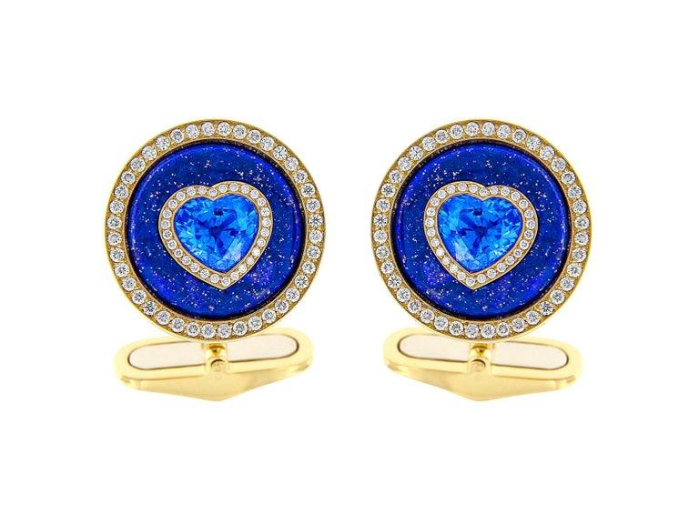 Art Deco Blue Sapphire, Lapis and Diamond Cufflinks in 18 Karat Yellow Gold For Sale