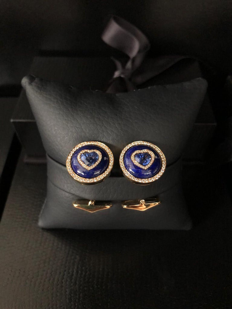 Blue Sapphire, Lapis and Diamond Cufflinks in 18 Karat Yellow Gold In New Condition For Sale In Bangkok, TH