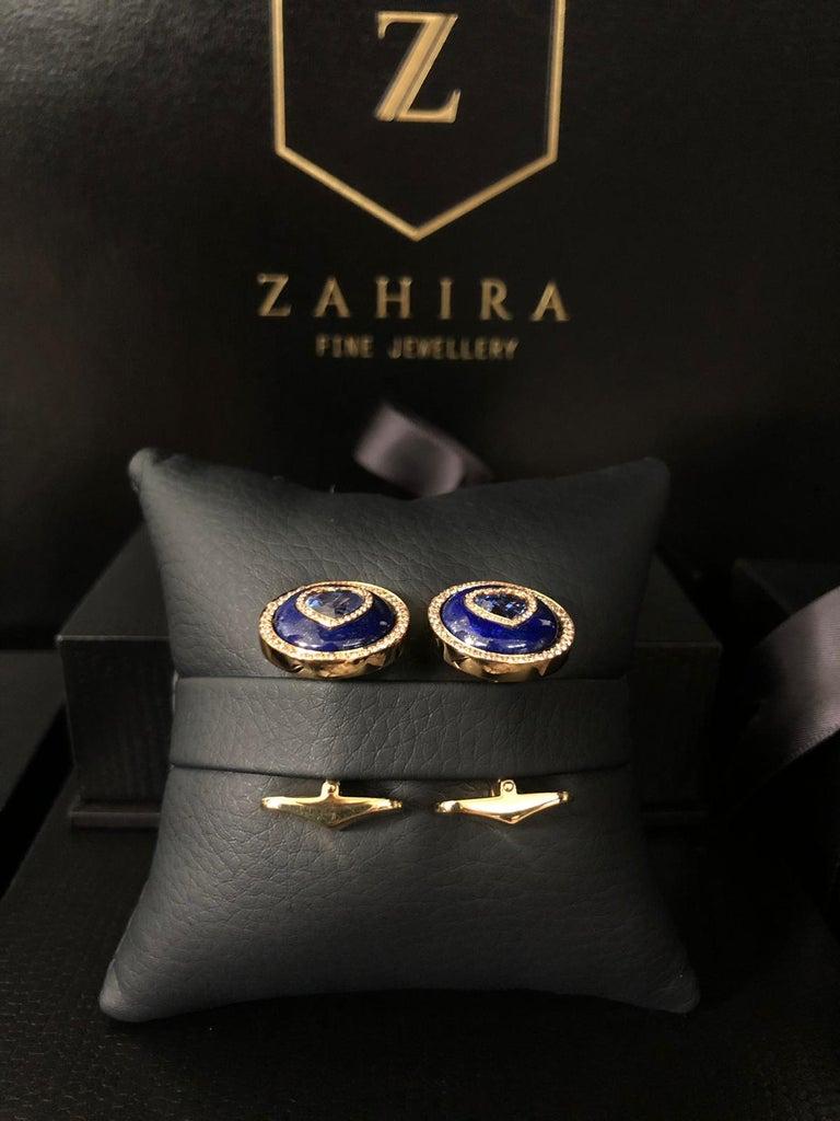 Men's Blue Sapphire, Lapis and Diamond Cufflinks in 18 Karat Yellow Gold For Sale