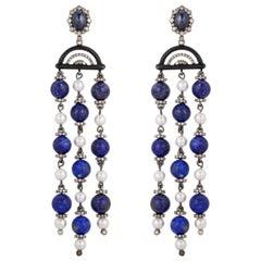 Blue Sapphire Lapis Pearl Diamond Earrings