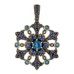 Blue Sapphire London Blue Topaz Pendant