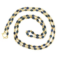 Blue Sapphire Long 22 Karat Yellow Gold Chain Necklace Estate Fine Jewelry