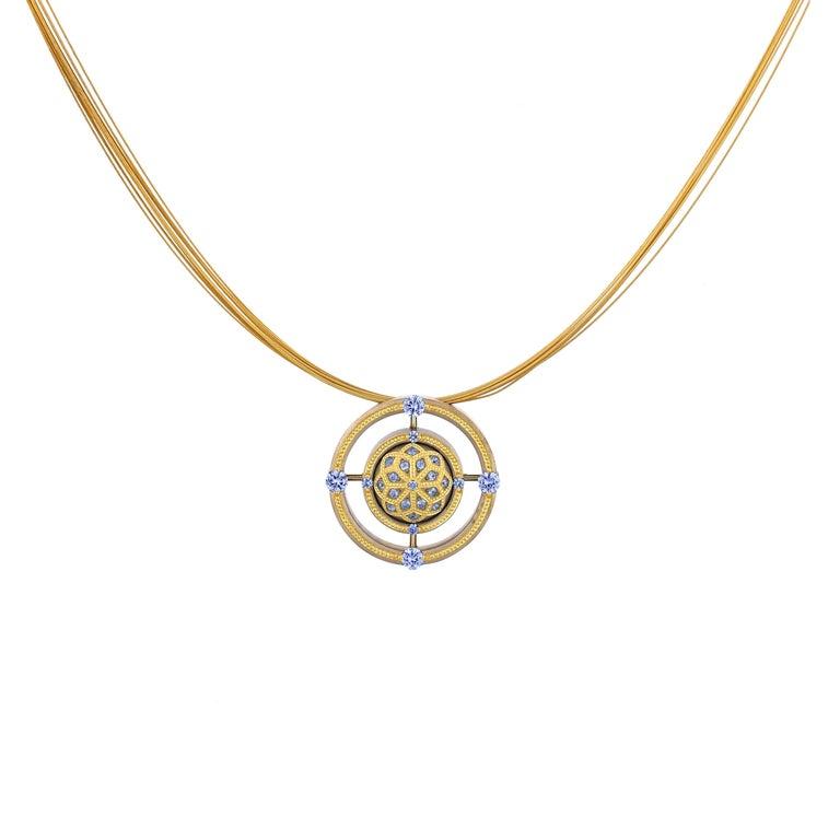 Modern Blue Sapphire Mandala Pendant in Bronze and 24 Karat Gold For Sale