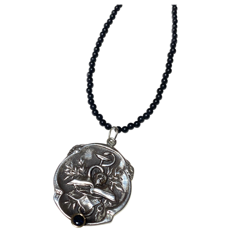 Black Diamond Memento Mori Medal Pendant Silver Spinel Bead Necklace J Dauphin