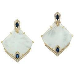 Blue Sapphire Mother of Pearl Diamond 18 Karat Gold Earrings