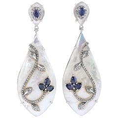 Blue Sapphire Pearl Diamond 18 Karat Gold Veil Earrings