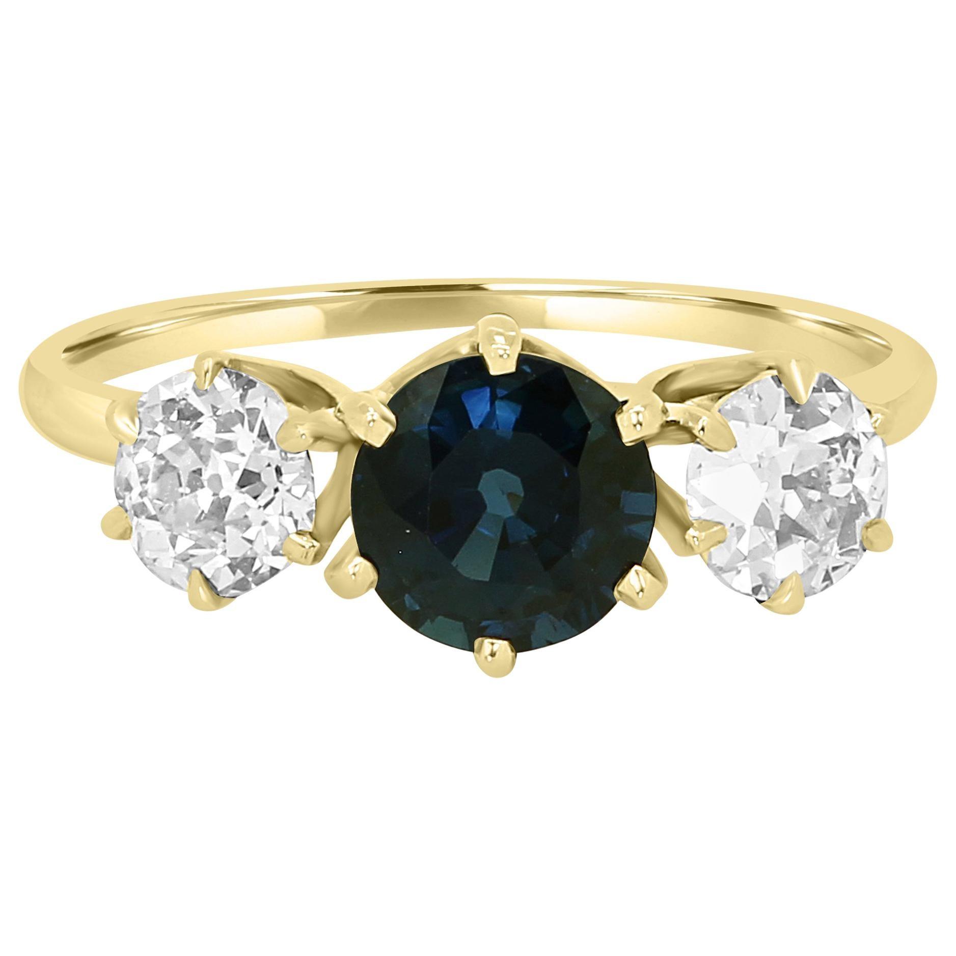 Blue Sapphire Old European Cut Diamond Three-Stone Gold Ring