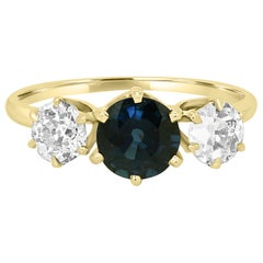 Blue Sapphire Old European Cut Diamond Three-Stone Gold Ring