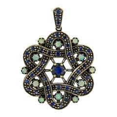 Blue Sapphire Opal Pendant