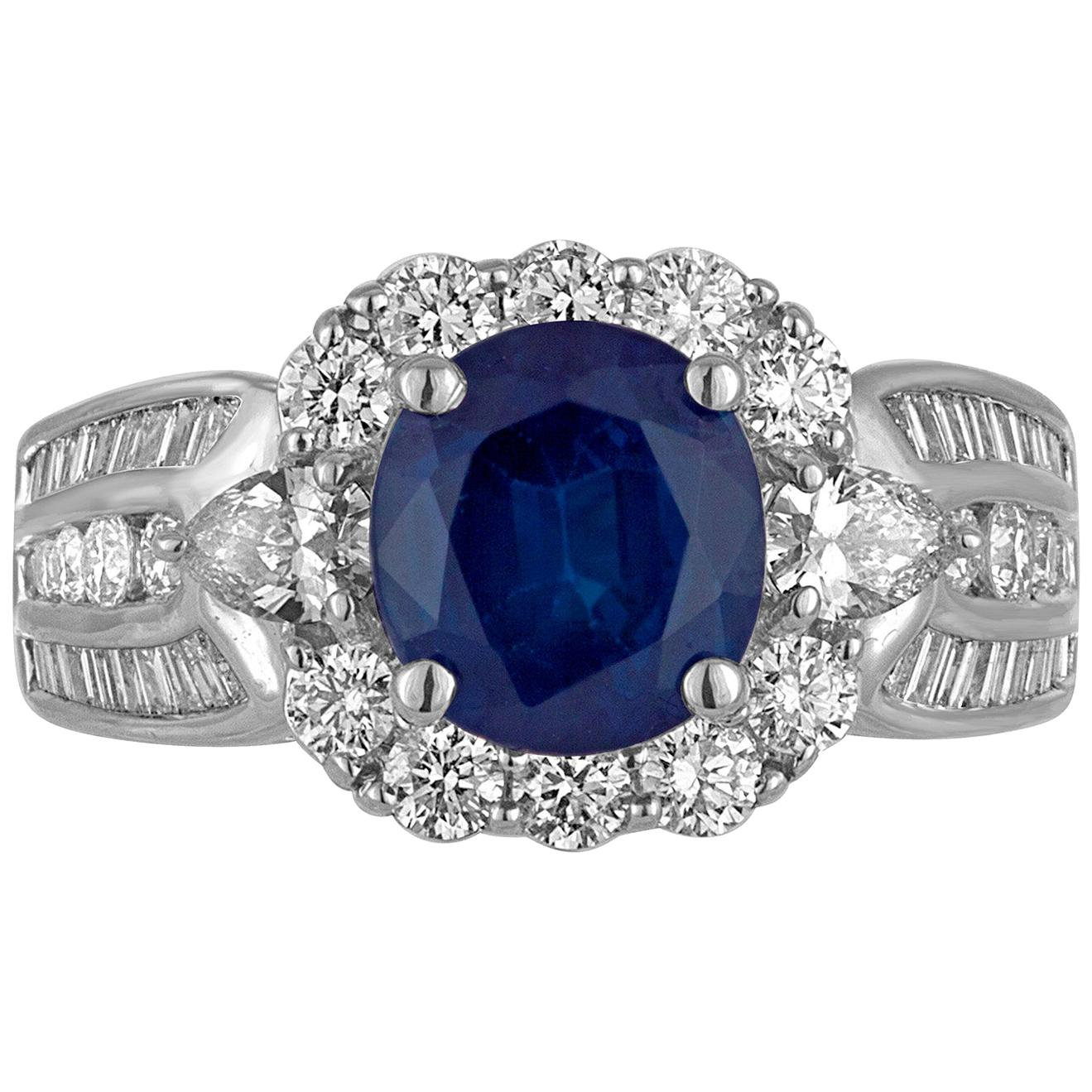 Art Deco Style Blue Sapphire Oval White Diamond Halo Gold Fashion Cocktail Ring
