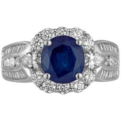 Blue Sapphire Oval 2.50 Carat White Diamond Halo Gold Fashion Cocktail Ring