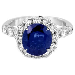 Blue Sapphire Oval 3.61 Carat White Diamond Round Halo Bridal Cocktail Gold Ring