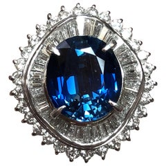 Blue Sapphire Oval and Diamond Cocktail Ring in Platinum