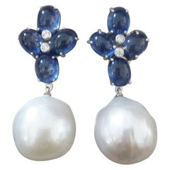 Blue Sapphire Oval Cabs Gold Diamonds Big Size White Baroque Pearls Earrings