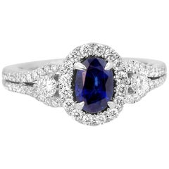 Blue Sapphire Oval Diamond Round Halo Three-Stone Gold Bridal Fashion Ring