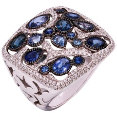 Blue Sapphire Oval Marquise Round 18 Karat Gold Diamond Square Cocktail Ring
