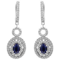 Blue Sapphire Oval White Diamond Round Halo Gold Drop Dangle Clip-On Earring