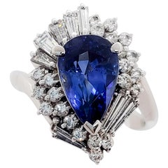 Blue Sapphire Pear Shape and White Diamond Cocktail Ring in Platinum