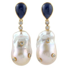 Blue Sapphire Pearl Diamond 18 Karat Gold Earrings
