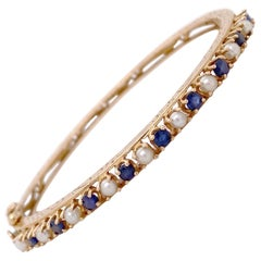 Blue Sapphire Pearl Estate Bracelet, Yellow Gold, Bangle, Cuff