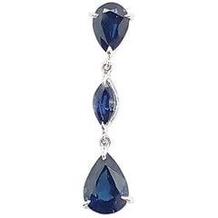 Blue Sapphire Pendant Set in 18 Karat White Gold Settings
