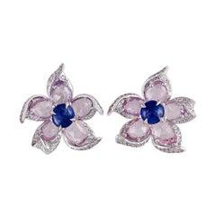 Blue Sapphire, Pink Sapphire & Diamond Earrings Studded in 18k Gold