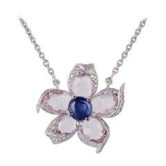 Blue Sapphire, Pink Sapphire & Diamond Pendant Studded in 18k Gold