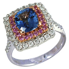 Blue Sapphire, Pink Sapphire with Diamond Ring in 18 Karat Setting