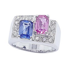 Blue Sapphire, Pink Sapphire with Diamond Ring in 18 Karat White Gold Settings