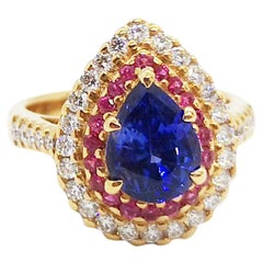 Blue Sapphire, Pink Sapphire with Diamond Ring Set in 18 Karat Rose Gold Setting