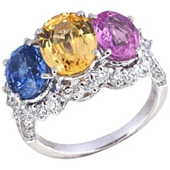 Blue Sapphire, Pink Sapphire, Yellow Sapphire, Diamond in 18 Karat White Gold