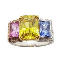 Blue Sapphire, Pink Sapphire, Yellow Sapphire Ring Set in 18 Karat White Gold