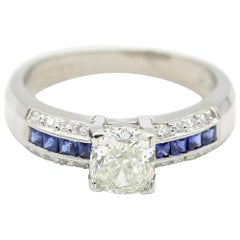 Blue Sapphire Princess Cut 1.7 Carat Diamond Ring Platinum by Tacori