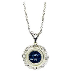 Blue Sapphire Princess Cut and Diamond Necklace Two-Toned Gold Contemporary