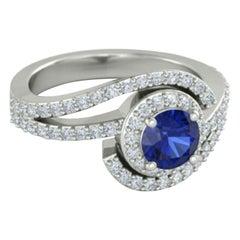 Blue Sapphire Ring 14 Karat White Gold