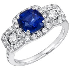 Blue Sapphire Ring 2.35 Carat Diamonds White Gold Cocktail Engagement Ring