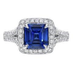 Blue Sapphire Ring 2.58 Carat Square Emerald Cut
