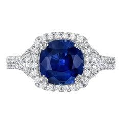 Blue Sapphire Ring 2.68 Carat Cushion
