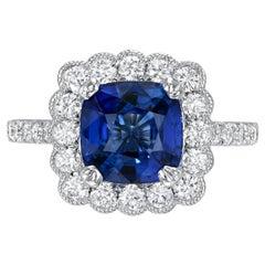 Blue Sapphire Ring 3.21 Carat Ceylon Cushion