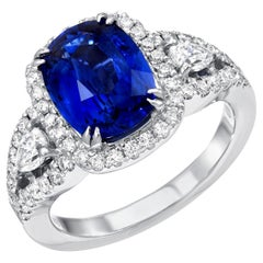 Blue Sapphire Ring 3.24 Carat Cushion Diamonds Platinum Cocktail Engagement Ring