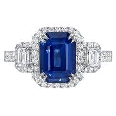 Blue Sapphire Ring 3.58 Carat Emerald Cut