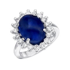 Blue Sapphire Ring Cabochon 8.97 Carat Diamonds White Gold Cocktail Ring