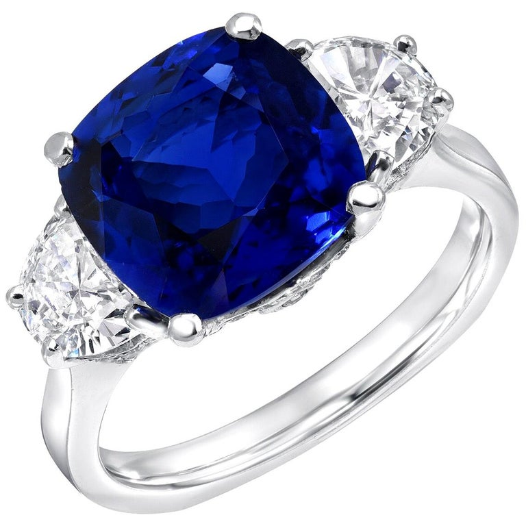 Sapphire Ring Ceylon Cushion Cut 3.81 Carats C. Dunaigre Certified For Sale