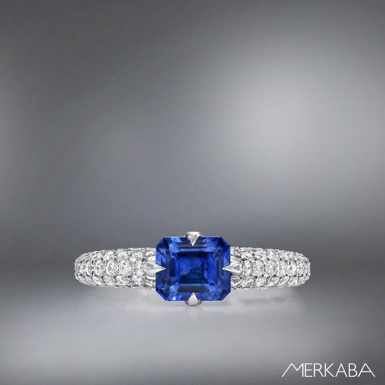 Modern Natural Sapphire Ring Emerald Cut 1.42 Carats AGL Certified Unheated For Sale