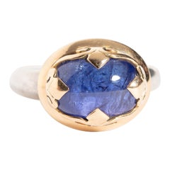 Blue Sapphire Ring in 18 Karat Gold and Sterling Silver Band