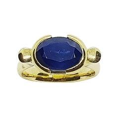 Blue Sapphire Ring Set in 18 Karat Gold Settings