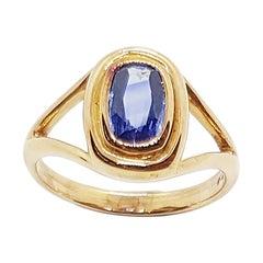 Blue Sapphire Ring Set in 18 Karat Rose Gold Settings