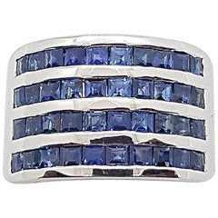 Blue Sapphire Ring Set in 18 Karat White Gold Settings